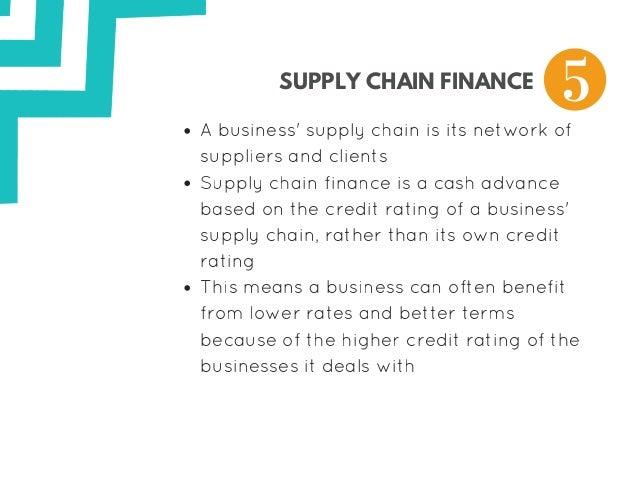 SUPPLY CHAIN FINANCE Abusiness'supplychainisitsnetworkof suppliersandclients Supplychainfinanceisacashadvan...
