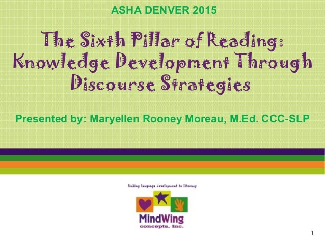 The Sixth Pillar of Reading: Knowledge Development Through Discourse Strategies Presented by: Maryellen Rooney Moreau, M.E...