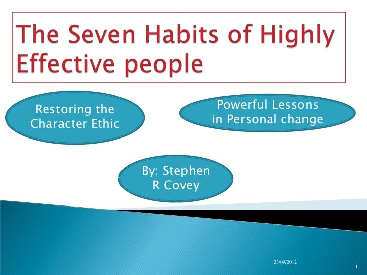 Restoring the                   Powerful LessonsCharacter Ethic                 in Personal change                  By: St...