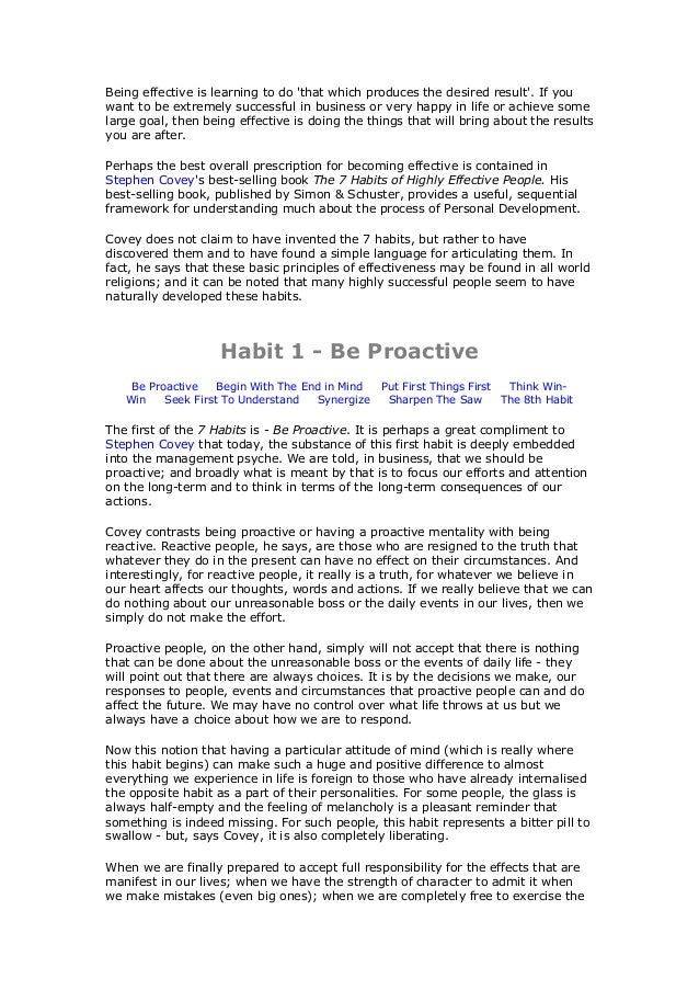 The 7 Habits Of Highly Effective People And 8th