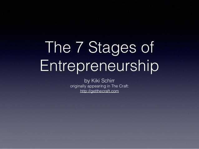 The 7 Stages of Entrepreneurship by Kiki Schirr originally appearing in The Craft: http://getthecraft.com