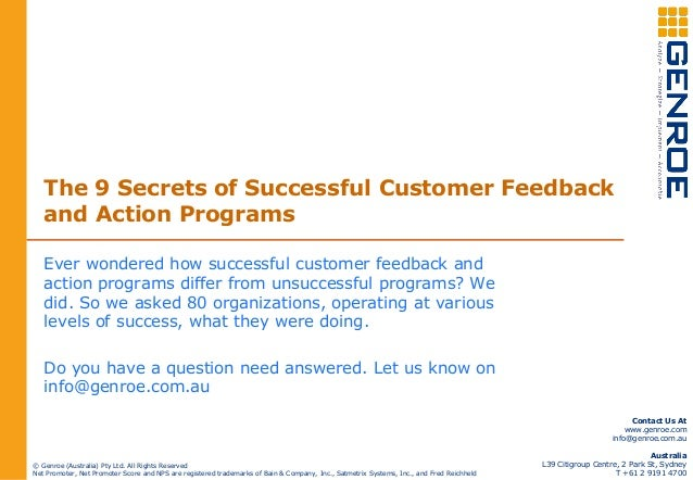 The 9 Secrets of Successful Customer Feedback and Action Programs Ever wondered how successful customer feedback and actio...