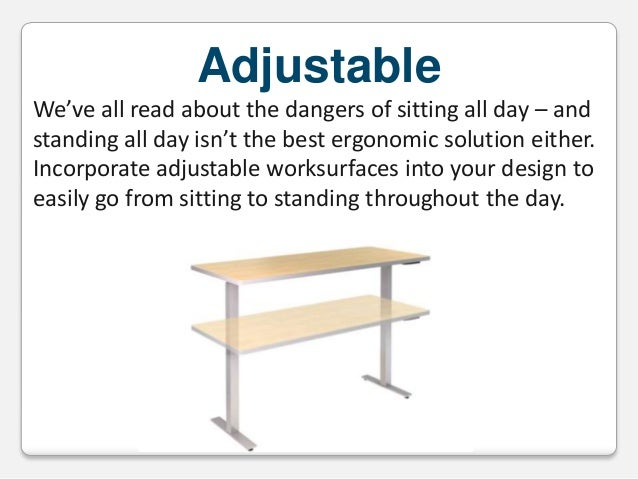 Adjustable We've all read about the dangers of sitting all day – and standing all day isn't the best ergonomic solution ei...