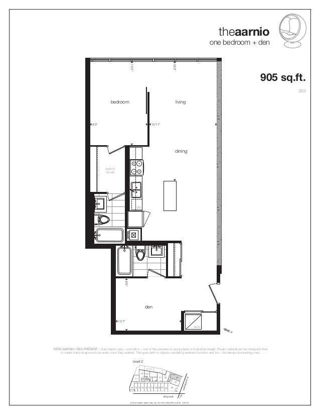 """theaarnio one bedroom + den Actual usable space may vary from the stated floor area. E.&O.E. w/d den bedroom living 8'6"""" 1..."""