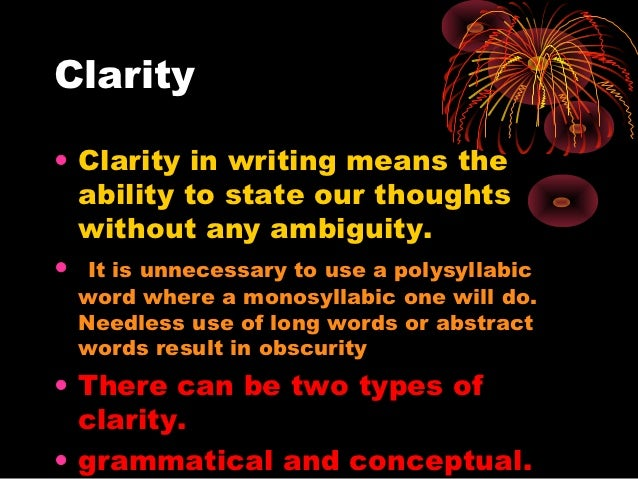 Ambugity and Clarity in Writing