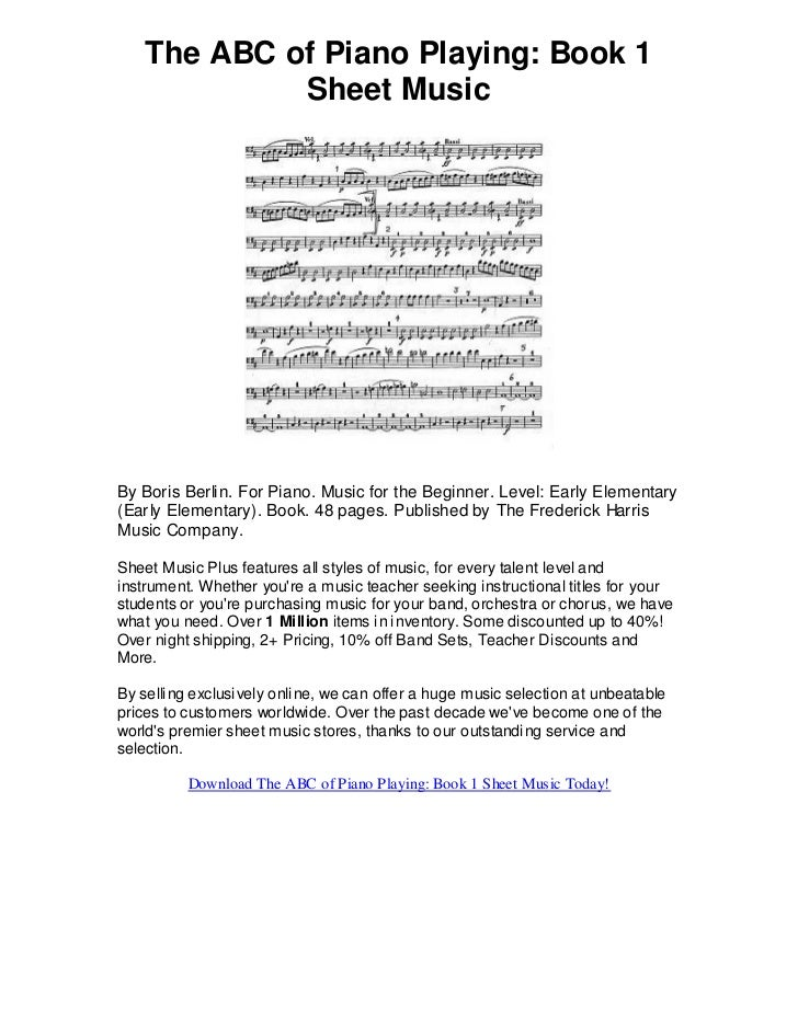 The abc of piano playing book 1 sheet music