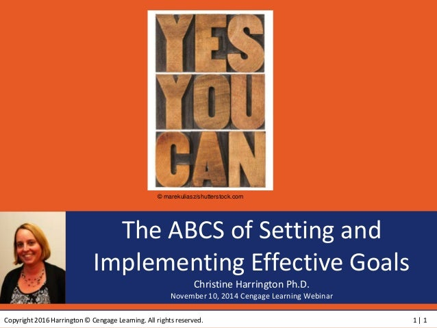 Copyright 2016 Harrington © Cengage Learning. All rights reserved. 1 | 1 The ABCS of Setting and Implementing Effective Go...