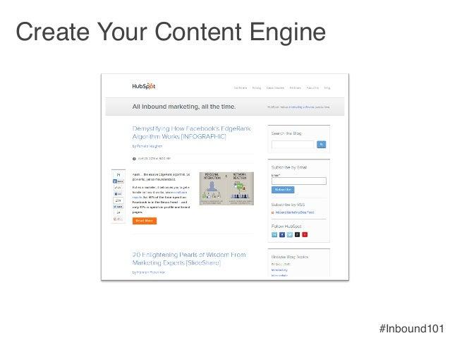 #Inbound101! Create Your Content Engine !
