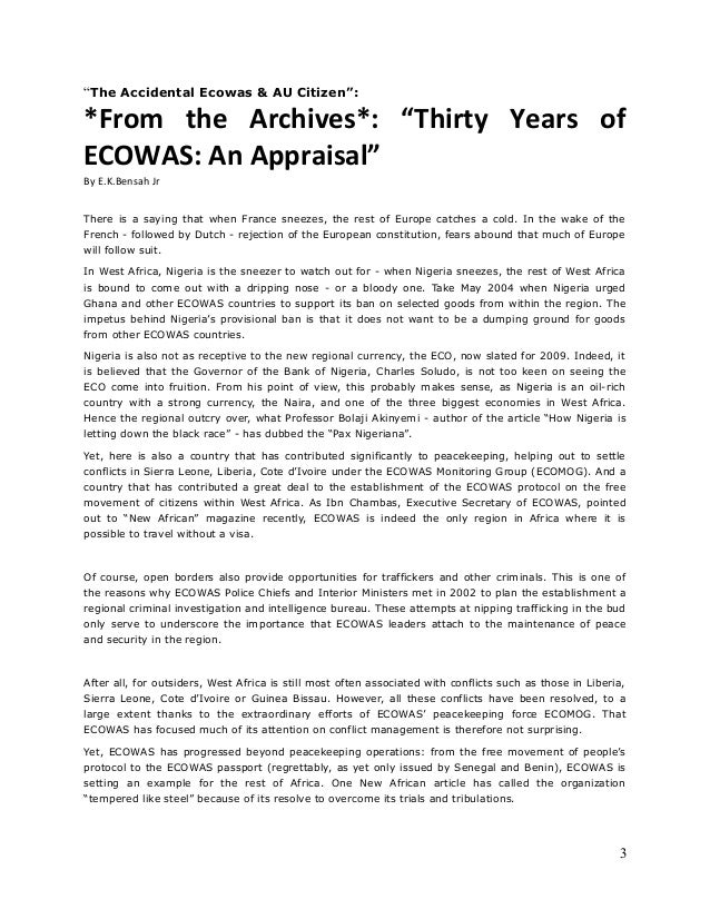 """The Accidental Ecowas & AU Citizen"":  *From the Archives*: ""Thirty Years of ECOWAS: An Appraisal"" By E.K.Bensah Jr There ..."