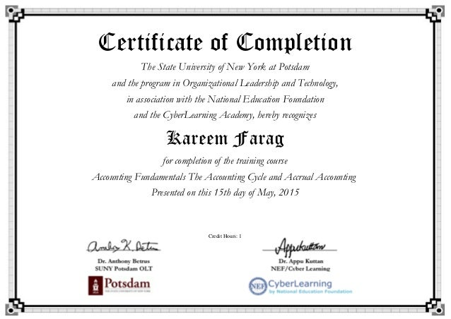 The Accounting Cycle And Accrual Accounting Certificate