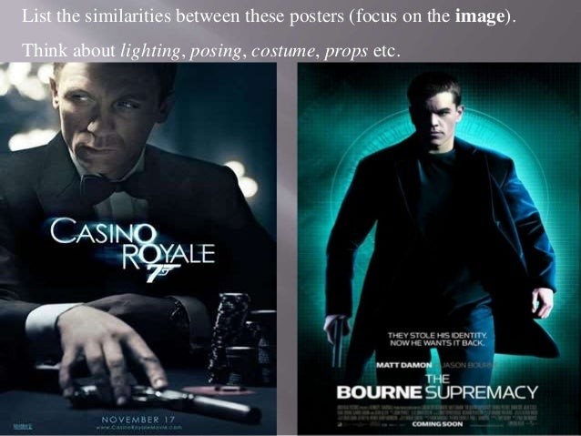 List the similarities between these posters (focus on the image). Think about lighting, posing, costume, props etc.