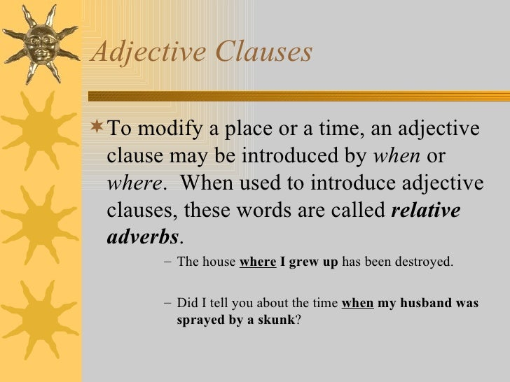 words that start adjective clauses