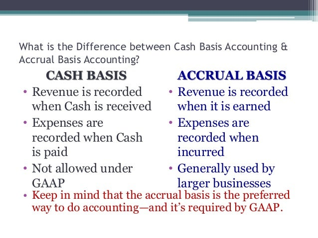 accrual vs cash accounting basis Choosing between accrual accounting and cash basis accounting is one of the first steps to launching a successful accounting system here's a guide to help you pick.
