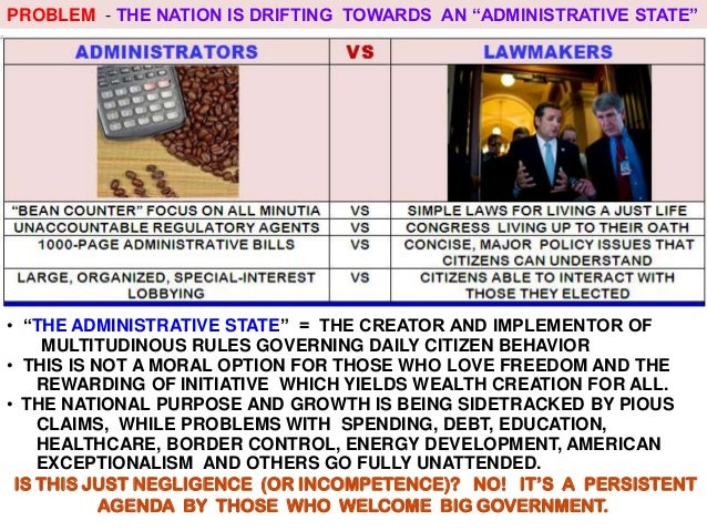 """PROBLEM - THE NATION IS DRIFTING TOWARDS AN """"ADMINISTRATIVE STATE""""  • """"THE ADMINISTRATIVE STATE"""" = THE CREATOR AND IMPLEME..."""