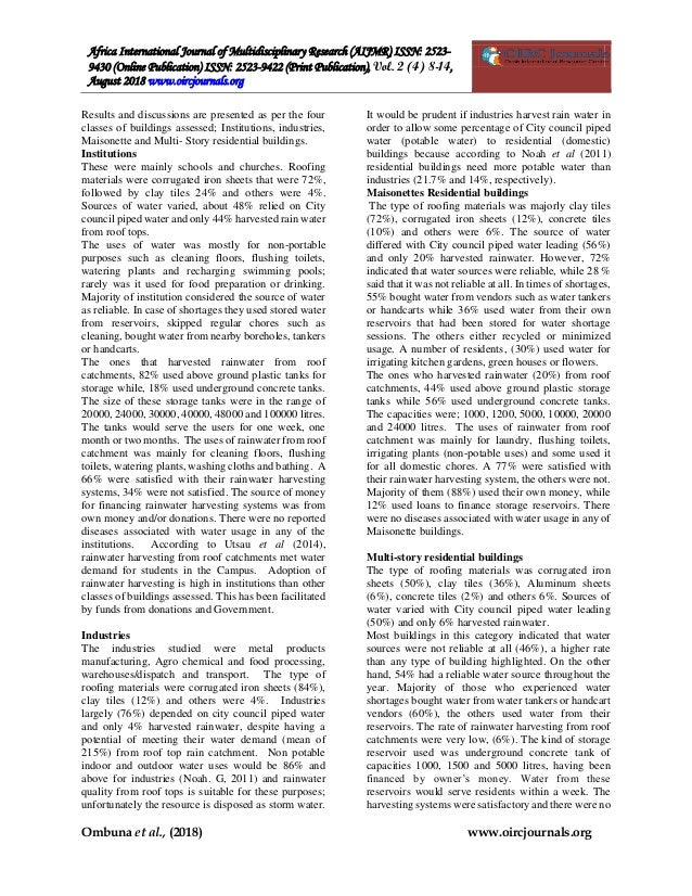 The adoption of roof catchment rainwater harvesting and major water s…