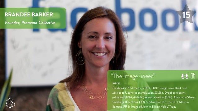 """15BRANDEE BARKER Founder, Pramana Collective """"The Image-ineer"""" WHY: Facebook's PR director, 2007-2010. Image consultant an..."""