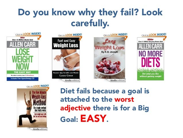 Do you know why they fail? Look carefully.         Diet fails because a goal is attached to the worst adjective there is f...