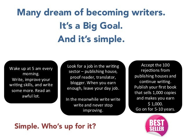 Many dream of becoming writers.  It's a Big Goal.  And it's simple.      Wake  up  at  5  am  every   morning....