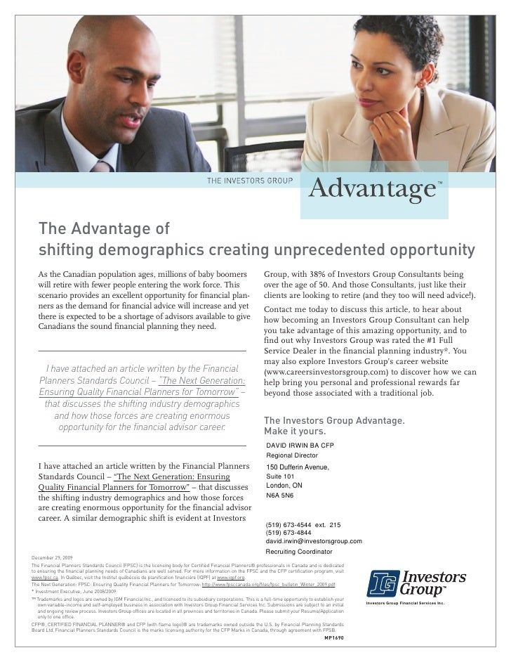 The Advantage of    shifting demographics creating unprecedented opportunity    As the Canadian population ages, millions ...