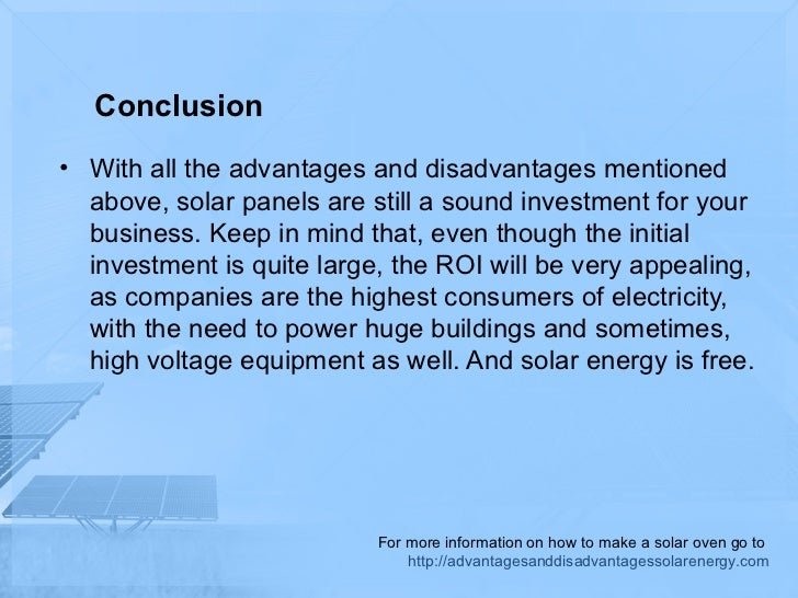 The advantages and disadvantages of solar energy for business
