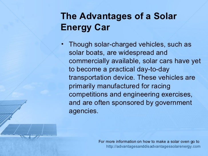 The Advantages Of A Solar Energy Car