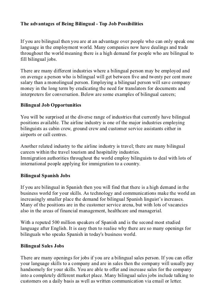 example of being bilingual essay but the benefits of being bilingual are not limited to having conversations more people around the world