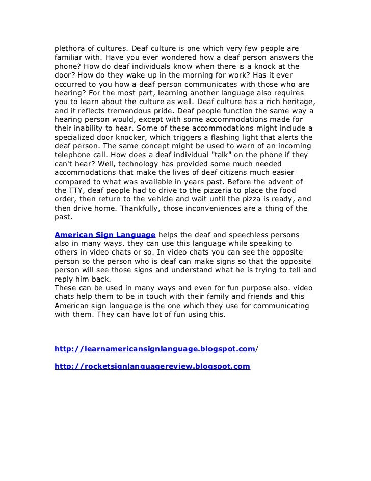 an analysis of the deaf culture and the sign language in the united states Introduction to linguistic analysis asl 113: french sign language and deaf culture the sign language used by the deaf community of the united states.