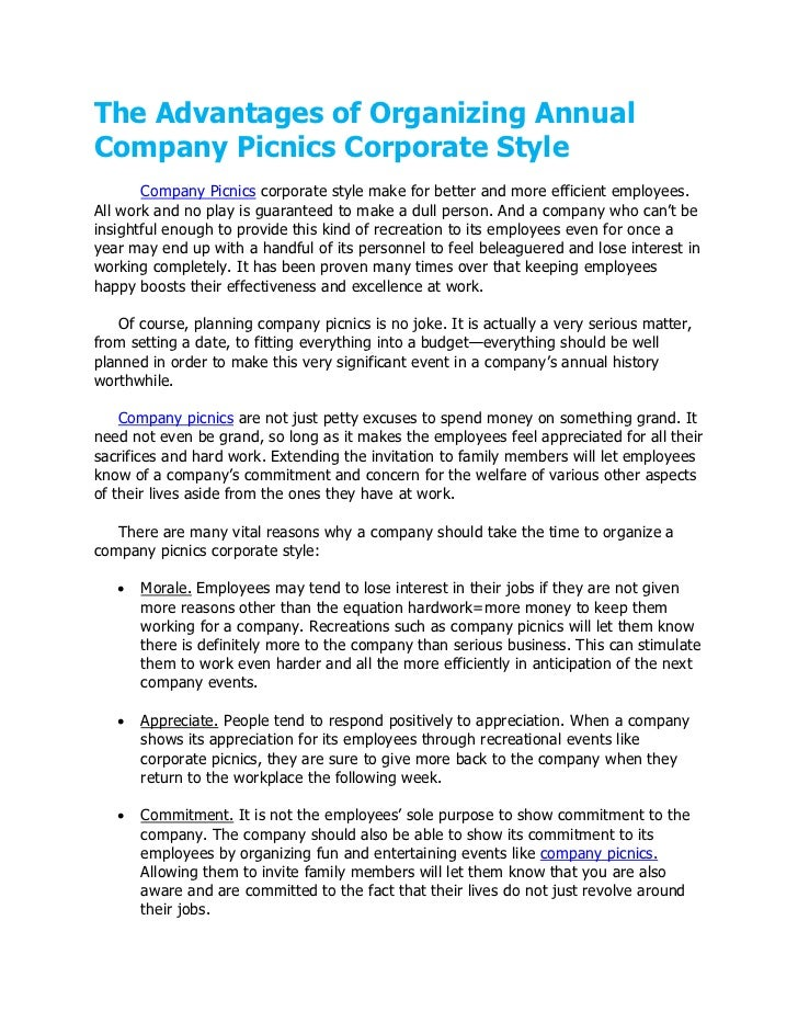 The Advantages of Organizing AnnualCompany Picnics Corporate Style       Company Picnics corporate style make for better a...