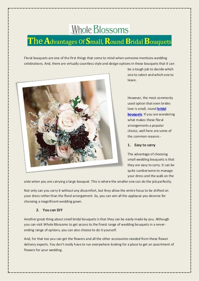 The Advantages Of Small Round Bridal Bouquets
