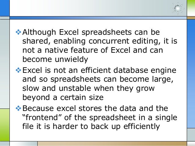 Disadvantages of ms excel application