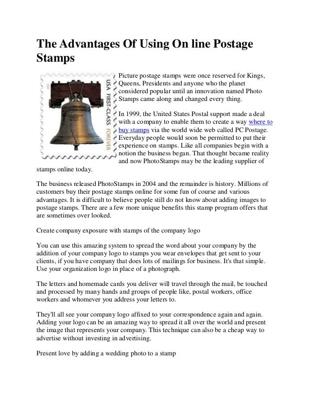 The Advantages Of Using On Line Postage Stamps