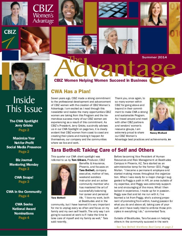 CBIZ Women Helping Women Succeed in Business The CWA Spotlight Jerry Grisko Page 2 Maximize Your Not-for-Profit Social Med...