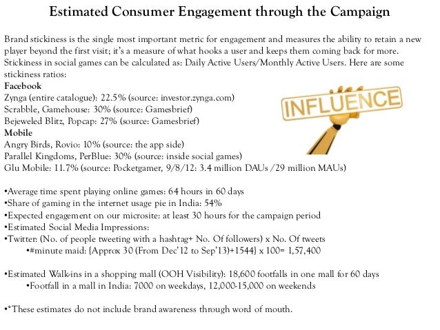 Estimated Consumer Engagement through the Campaign Brand stickiness is the single most important metric for engagement and...