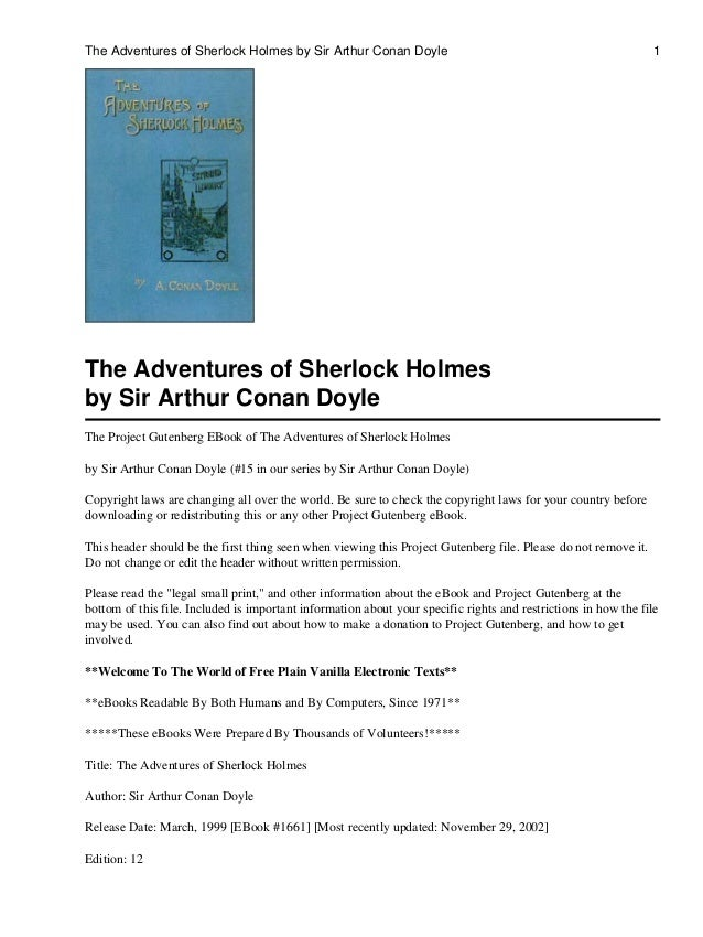 The Adventures of Sherlock Holmes by Sir Arthur Conan Doyle  1  The Adventures of Sherlock Holmes by Sir Arthur Conan Doyl...