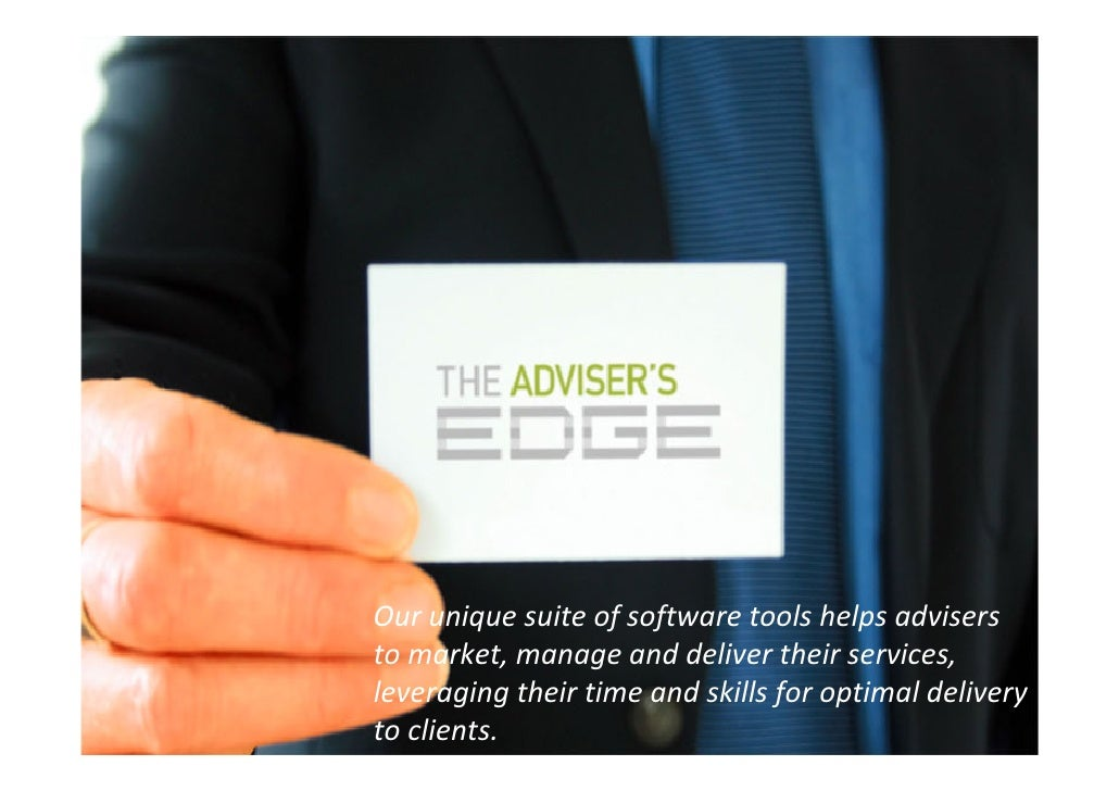Our unique suite of software tools helps advisers  to market, manage and deliver their services,  leveraging their time an...