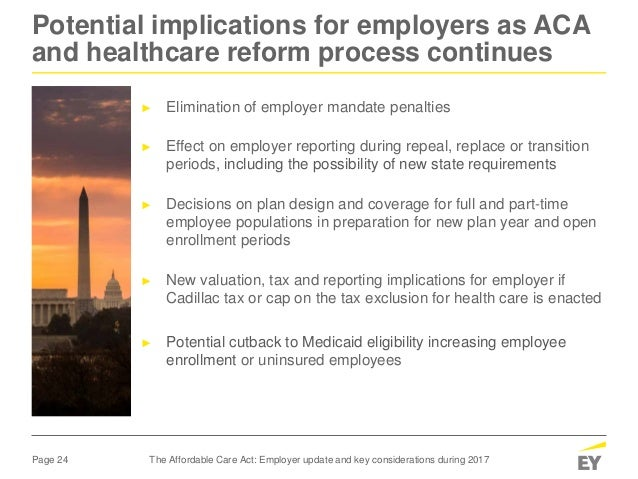 The Affordable Care Act employer update and key ...