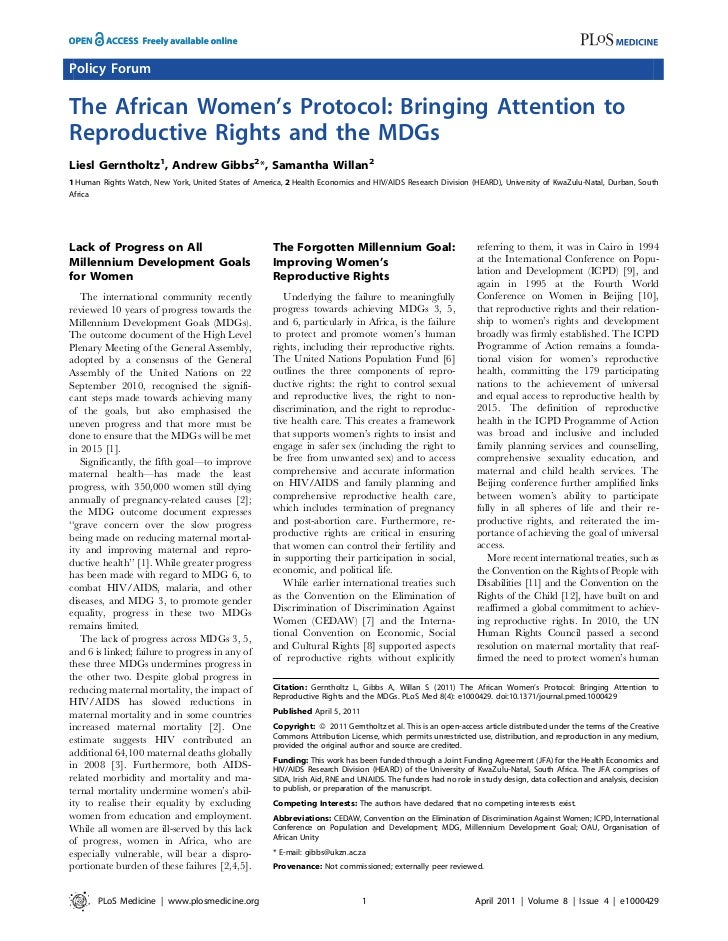 Policy ForumThe African Women's Protocol: Bringing Attention toReproductive Rights and the MDGsLiesl Gerntholtz1, Andrew G...