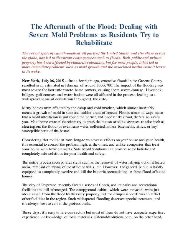 The aftermath of the flood dealing with severe mold - How to deal with mold ...