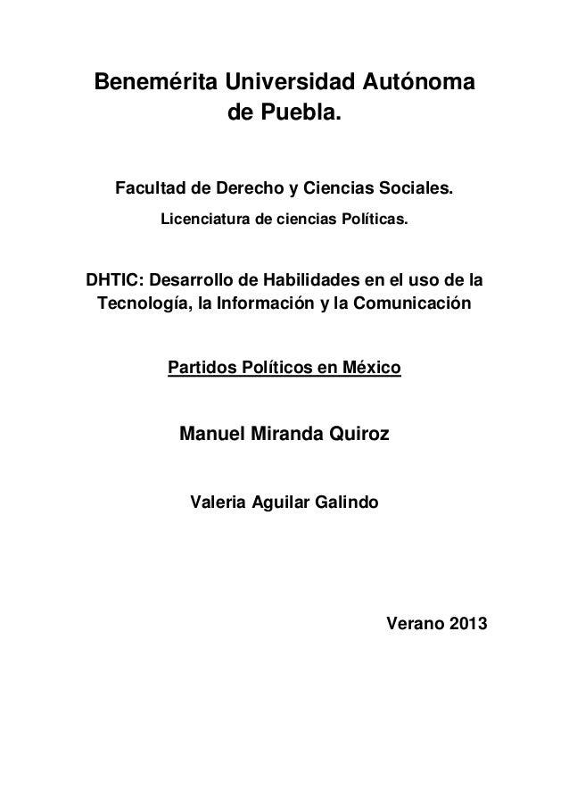 Benemérita Universidad Autónoma de Puebla. Facultad de Derecho y Ciencias Sociales. Licenciatura de ciencias Políticas. DH...