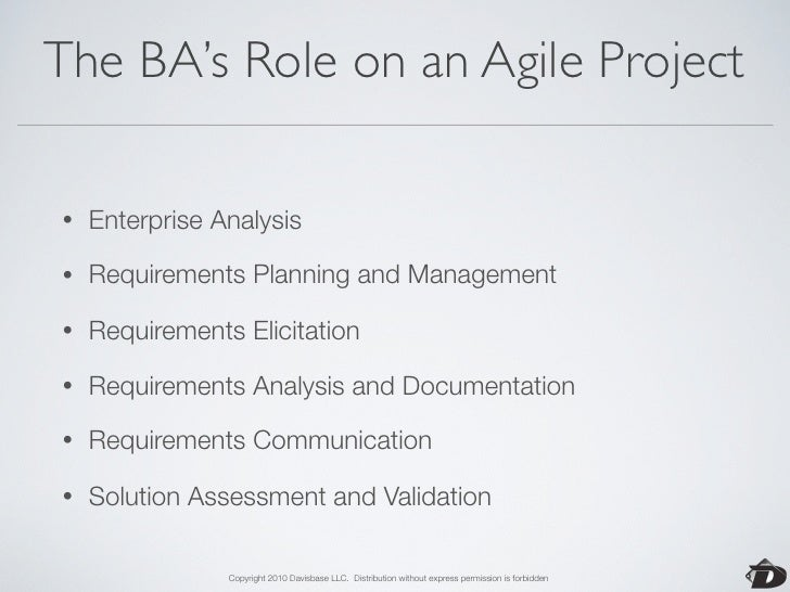 Agile: Enterprise Analysis  •   Work with the customer to develop strategic goals and a     product vision.  •   Identifyi...