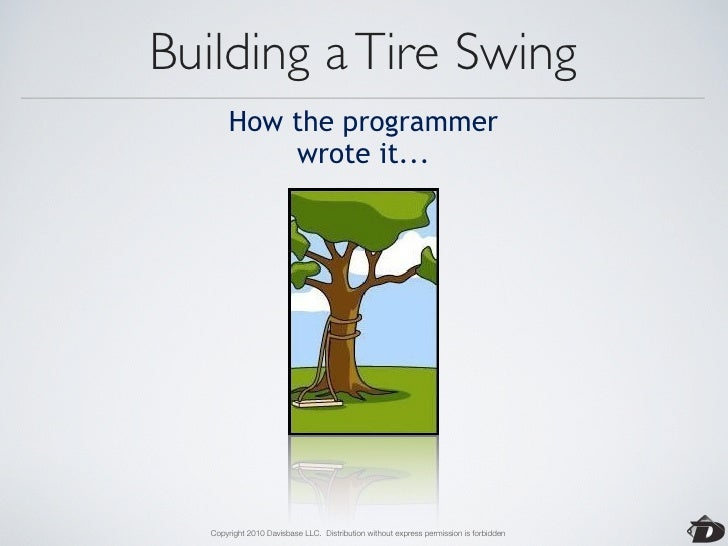 Building a Tire Swing  How the business consultant        described it...        Copyright 2010 Davisbase LLC. Distributio...