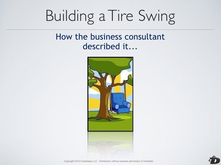 Building a Tire Swing          How the the project          was documented...        Copyright 2010 Davisbase LLC. Distrib...