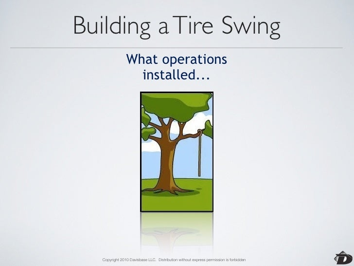 Building a Tire Swing              How the customer                was billed...        Copyright 2010 Davisbase LLC. Dist...
