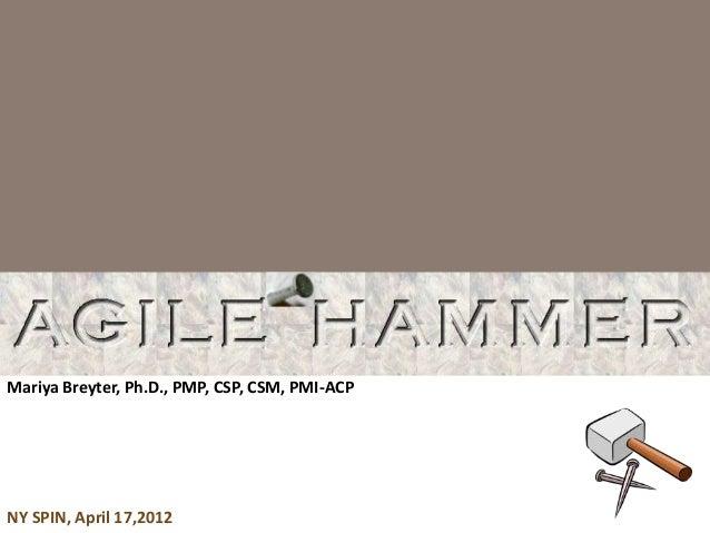 Mariya Breyter, Ph.D., PMP, CSP, CSM, PMI-ACP  NY SPIN, April 17,2012