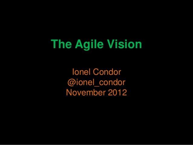 The Agile Vision   Ionel Condor  @ionel_condor  November 2012