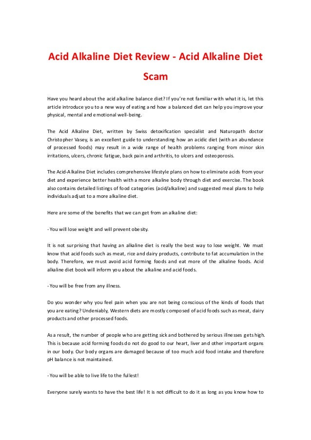 Acid Alkaline Diet Review - Acid Alkaline Diet                                                  ScamHave you heard about t...