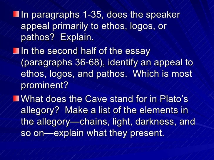 rhetorical strategies of allegory of the cave [grade 11 world literature] the allegory of the cave tone and intended audience imaginary situation and at all of the rhetorical questions he asks glaucon.
