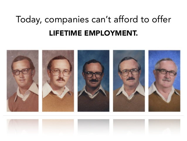 Today, companies can't afford to offer LIFETIME EMPLOYMENT.