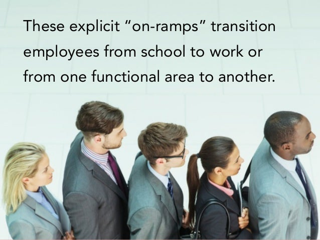 "These explicit ""on-ramps"" transition employees from school to work or from one functional area to another."