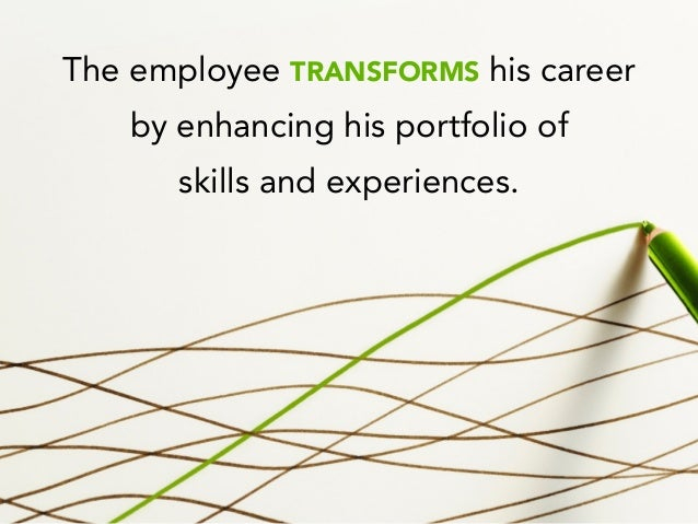 The employee TRANSFORMS his career by enhancing his portfolio of skills and experiences.